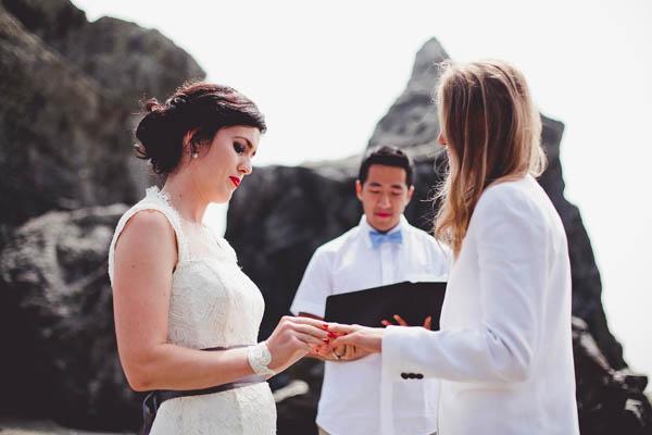 same-sex wedding ceremony ring exchange