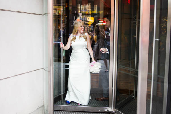 bride walking out in the city