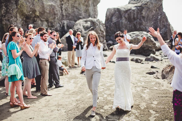 Northern California coast wedding ceremony exit