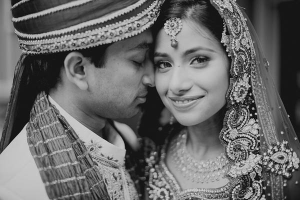 traditional Indian wedding couple's portrait