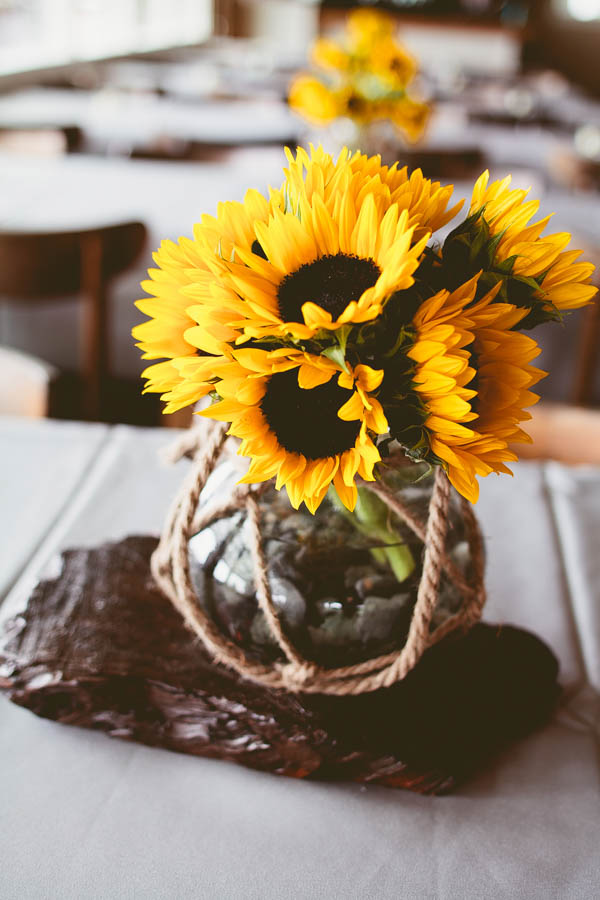 simple beach wedding sunflowers decor