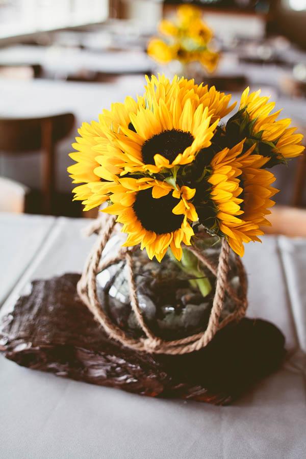 simple beach wedding sunflowers decor