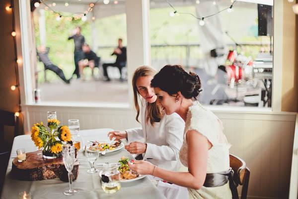 California seaside wedding reception