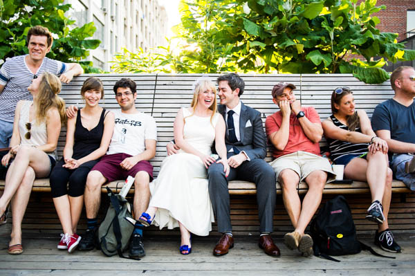 natural and casual wedding party shot