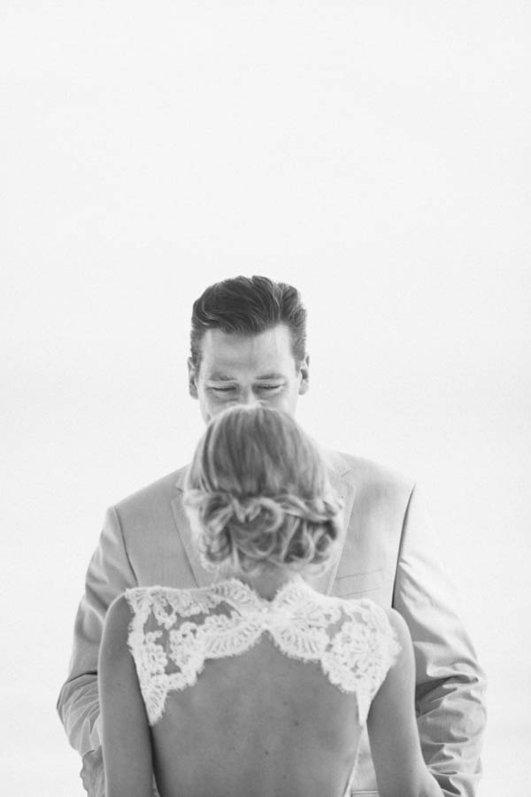 intimate beach wedding first look, photo by Chris Glenn | via junebugweddings.com