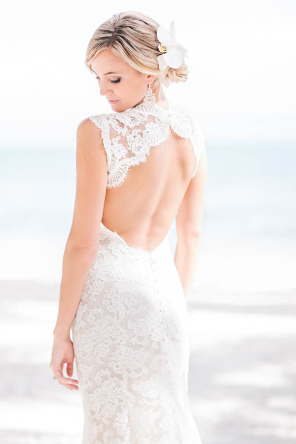 intimate beach wedding bridal portrait, photo by Chris Glenn | via junebugweddings.com