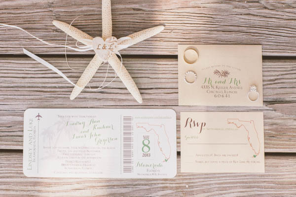 intimate beach wedding invitations by Inspirations by Amie Lee, photo by Chris Glenn | via junebugweddings.com