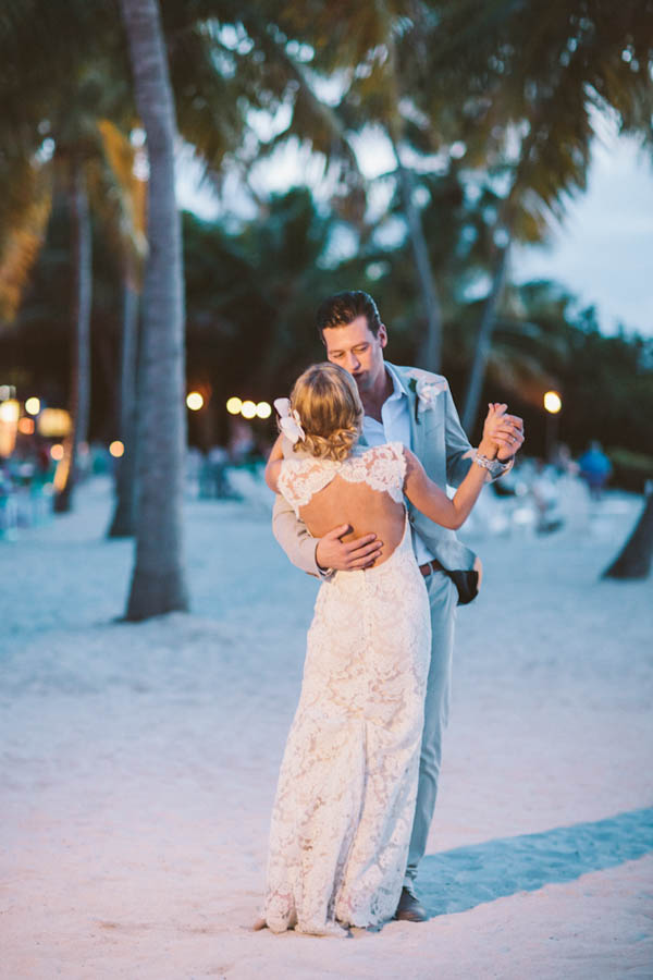 intimate beach wedding couple's first dance, photo by Chris Glenn | via junebugweddings.com