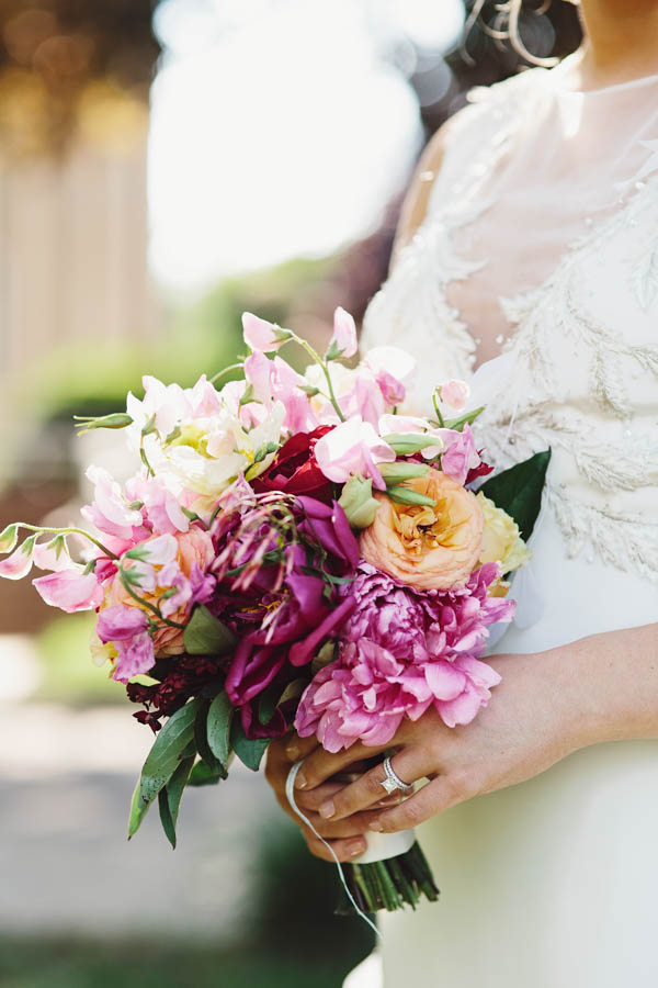 vibrant pink and orange modern wedding bouquet