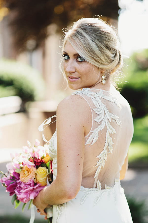 beautiful sheer back wedding dress by Rafael Cennamo