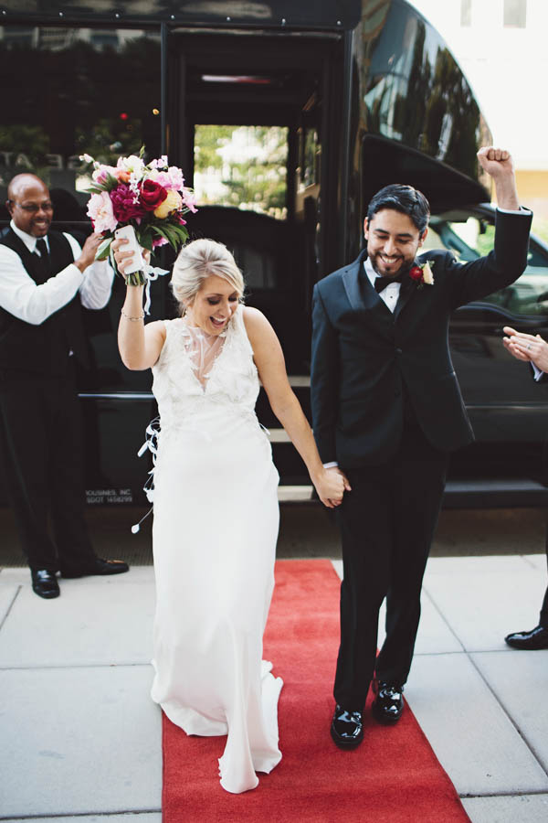 couple's celebratory entrance