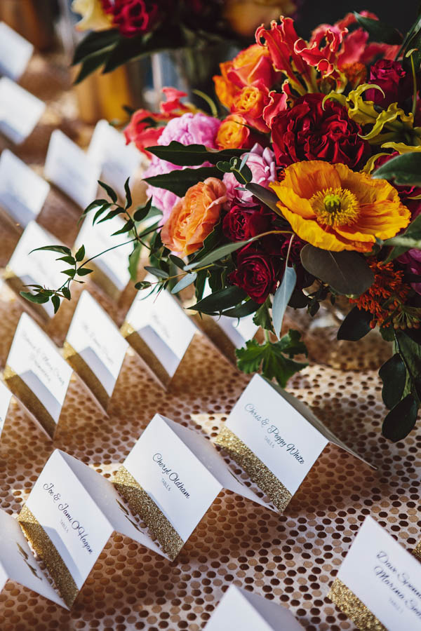 elegant glitter place cards