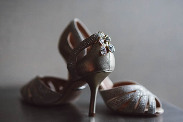 sparkling bridal shoes and earrings