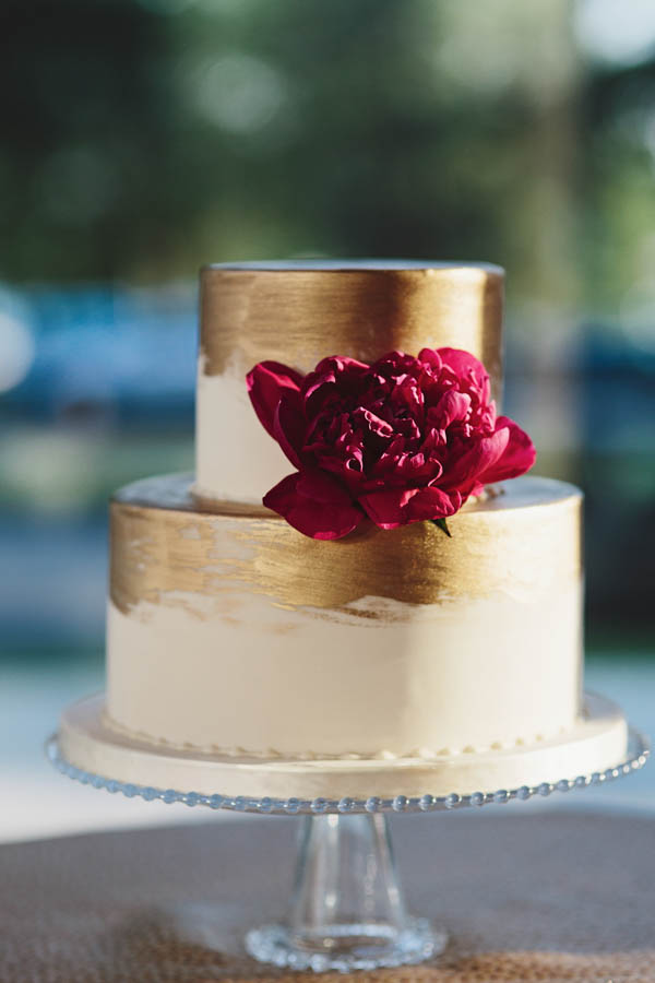 elegant brushed gold wedding cake