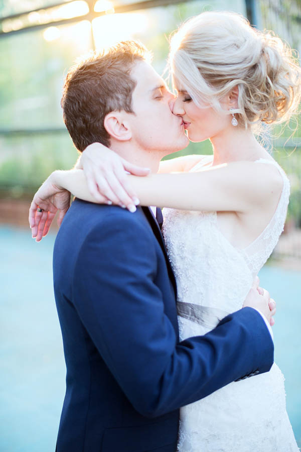 sweet bride and groom's kiss portrait