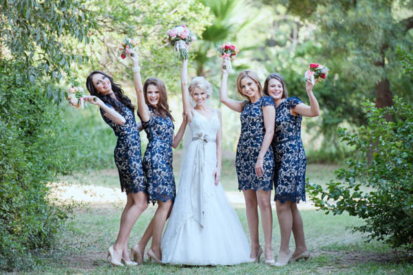 stylish navy lace bridesmaids' dresses