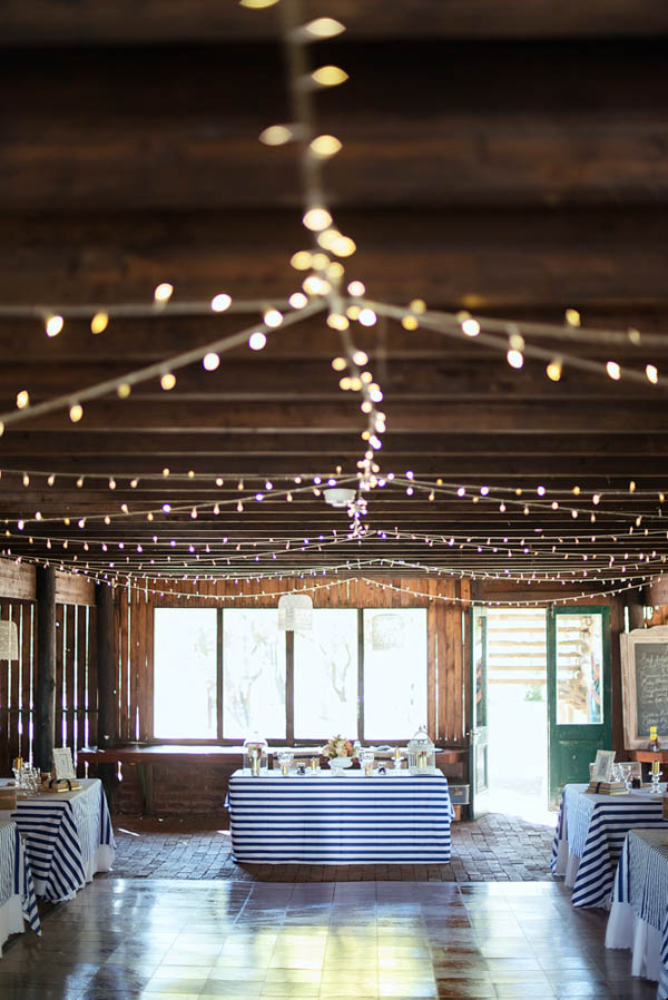 adorable rustic navy and pink wedding reception space