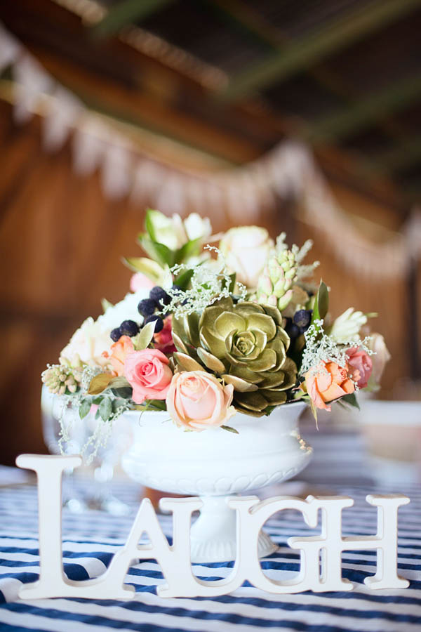 rustic chic flowers and table decor