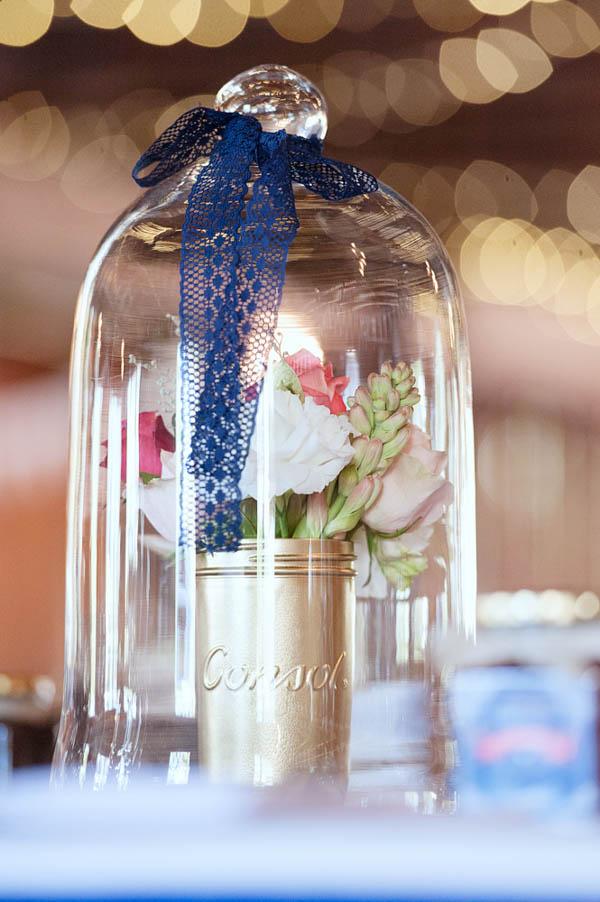 navy and pink farm wedding reception decor
