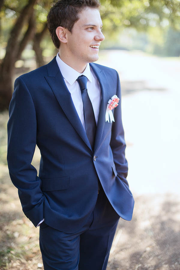 stylish groom's navy suit