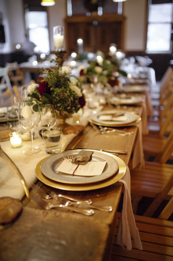 rustic mountain wedding reception table decor, photo by Chowen Photography | via junebugweddings.com