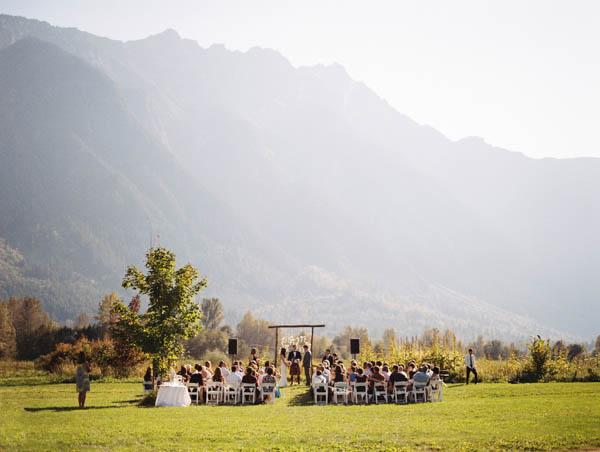 gorgeous mountainside DIY farm wedding ceremony