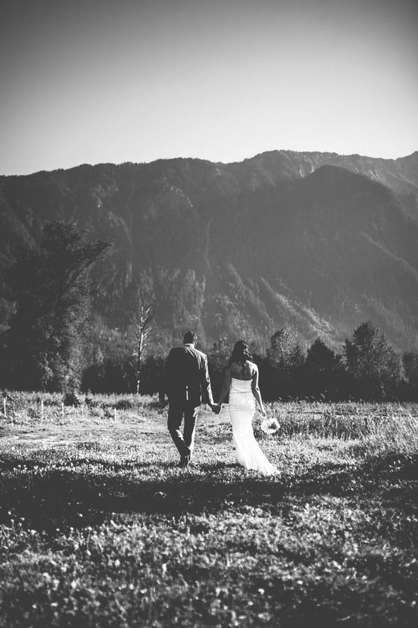 rustic mountainside farm wedding portrait