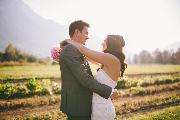 sweet couple's portrait with bouquet