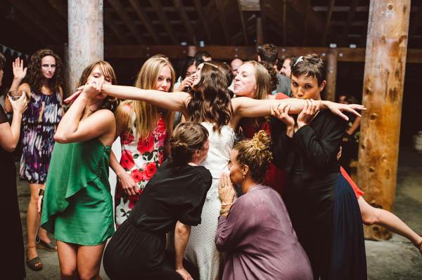 bride and her friends reception fun