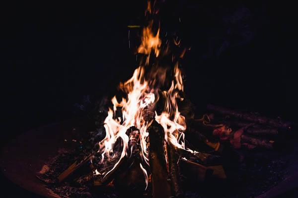 rustic DIY farm wedding reception bonfire