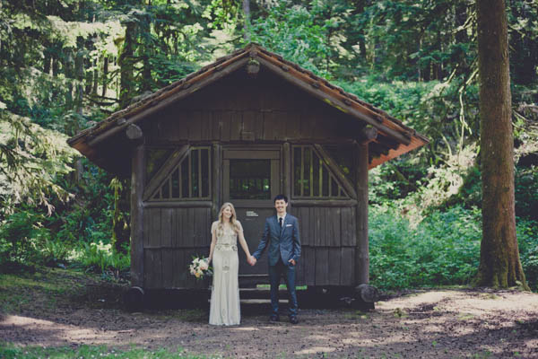 romantic camp wedding couple's portrait