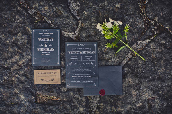 black and white typography wedding invitation ideas