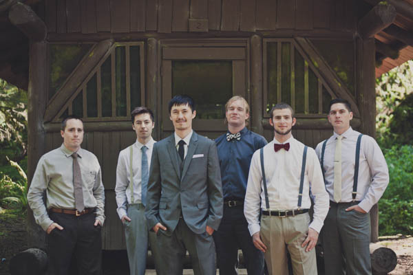 mismatched groomsmen fashion with suspenders