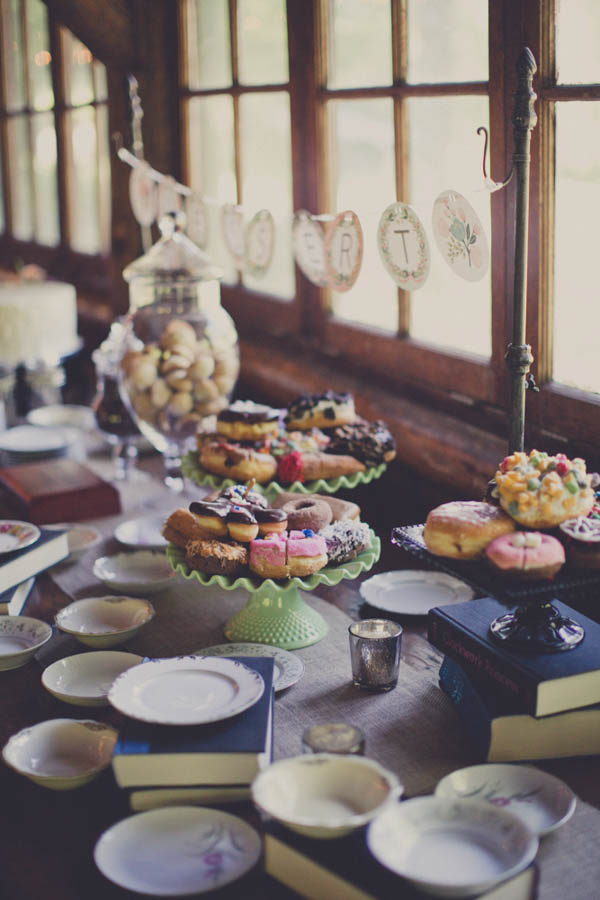 wedding dessert table with donuts