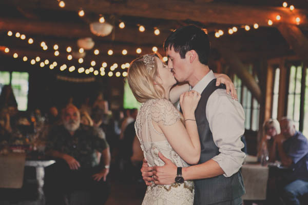 sweet wedding reception kiss