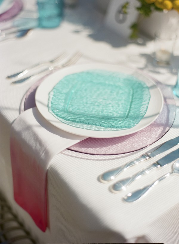 teal and pink place setting