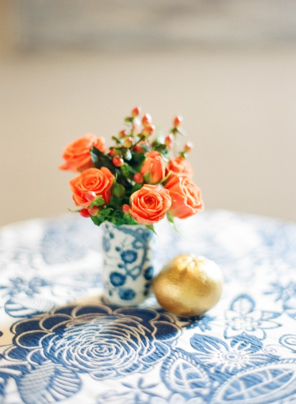 orange and blue table scape