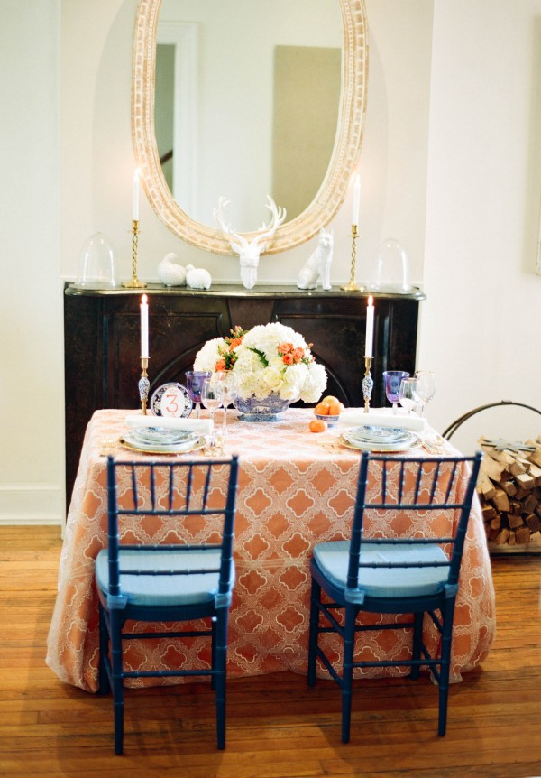 orange and blue table setting