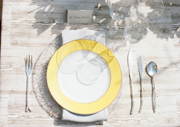 yellow and gray place setting