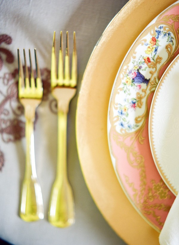gold pink and blue place setting