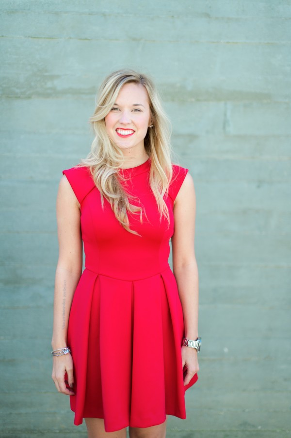 bright red engagement shoot dress