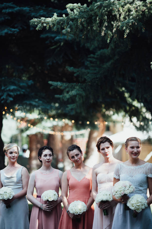 mismatched bridesmaids' dresses