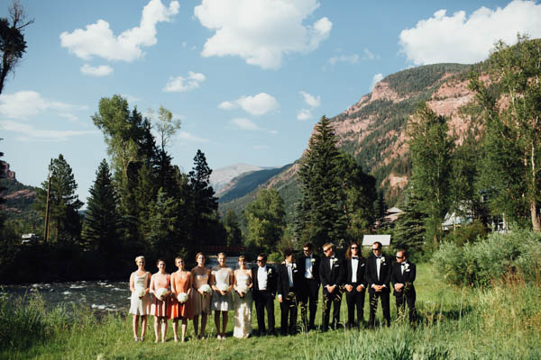 artsy mountain wedding party portrait