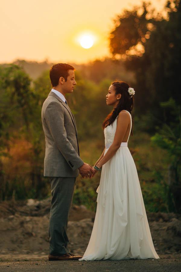 romantic sunset in Thailand portrait