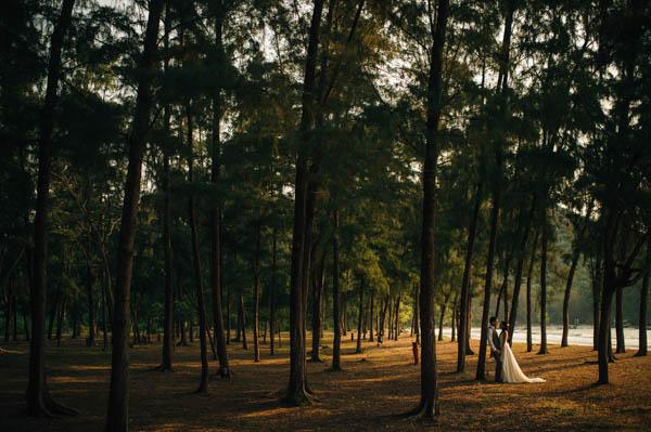 romantic couple's portrait amongst the trees