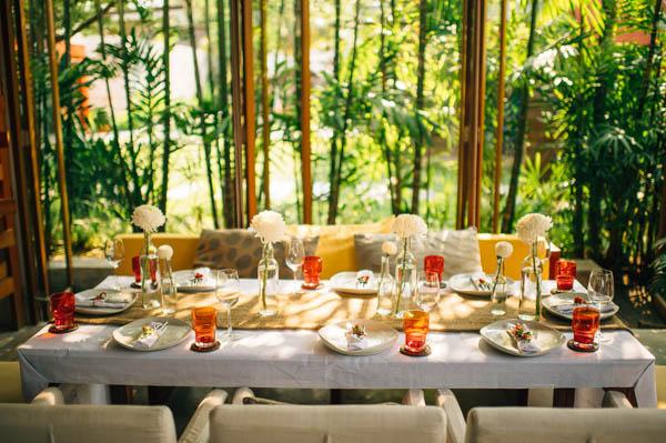 beach wedding in Thailand reception table decor