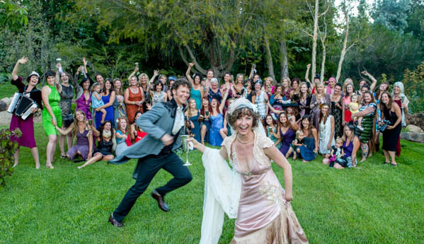fun and energetic wedding photo