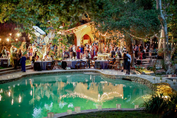 beautifully lit carnival wedding reception