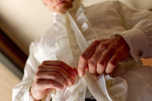 vintage ruffled groom's shirt