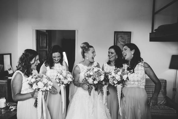 excited bride and bridesmaids
